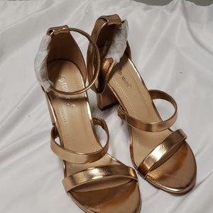Top Moda Rose Gold toned chunk heels